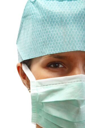 Portrait of a female surgeon with mask-isolated against a white background. photo