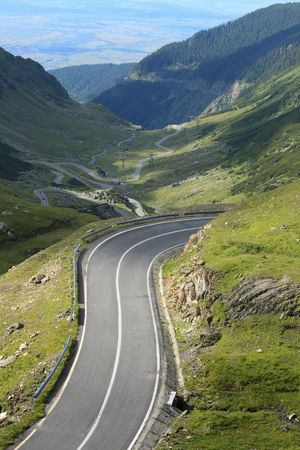 Fragment of a high altitude road in the mountains.Location:Transfagarasan the highest road in Romania.