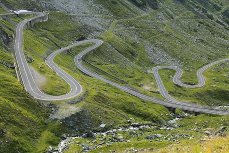 Fragment of a high altitude road in the mountains.Location:Transfagarasan road the highest road in Romania.  photo
