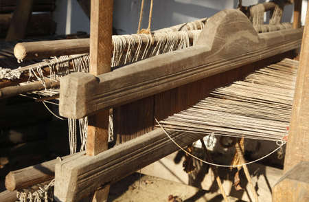 Detail of a traditional wooden hand weaving loom. Stock Photo - 5854781