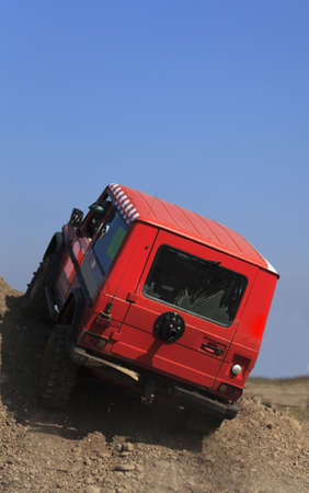 Truck driving on a very difficult off-road route. Stock Photo - 5848453