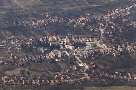 Bird eye view of Rametea village,Transylvania,Romania. photo