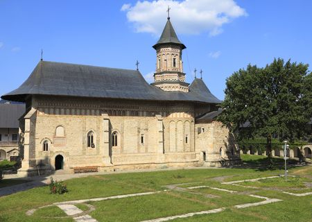 quietness: Image of Neamt Monastery,Moldavia,Romania.It is a Romanian Orthodox religious settlement, one of the oldest and most important of its kind in Romania. It was built in 14th century, and it is an example of medieval Moldavian architecture.