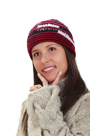 Young woman wearing knitwear clothes isolated against a white background. photo