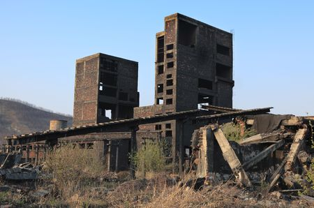 cinders: Ruins of a very heavily polluted industrial site at Copsa Mica, Romania. In 1990s the place was known as one of the most polluted towns in Europe.