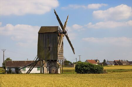 mill valley: Traditional wooden windmill in France in the Eure &Loir Valley region.This is Saint-Thomas mill.