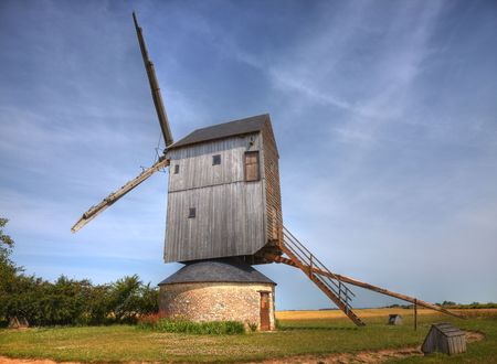 eolian: Traditional wooden windmill in France in the Eure &Loir Valley region.This is