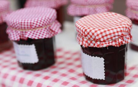 savoury: Image of jars of savoury old-fashined homemade jam on a table.