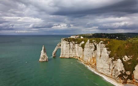 normandy: La Falaise dAmont in Etretat on the Upper Normandy coast in the North of France. Stock Photo