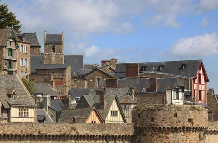 michel: Details of the roofs and houses from the village under the monastry on the Mountain Saint Michel.