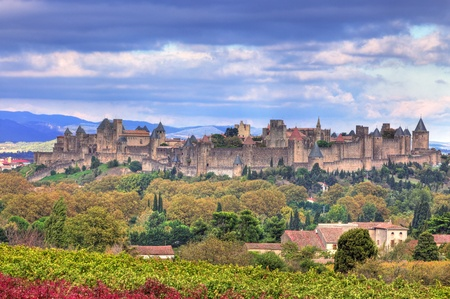 roussillon: Image of the famous fortified town of Carcassonne, France. Stock Photo