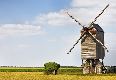 eolian: Traditional wooden windmill in France in the Eure &Loir Valley region.This is Saint-Thomas mill.