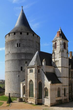donjon: Image of the saint chapel and the donjon from Chateaudun Castle located in French departement Eure et Loir.