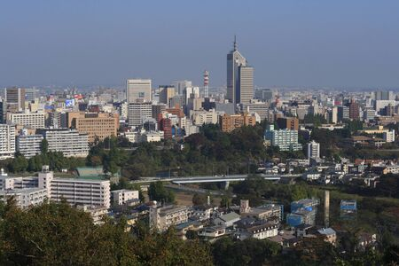 urbanscape: Sendai,Japan,October 31st 2006: Aerial view of Sendai City.Sendai is the capital city in Miyagi Prefecture in Japan and the biggest city in Tohoku Region. On 11 March 2011, a 9.0 earthquake and a subsequent major tsunami hit Sendai, causing major damage t