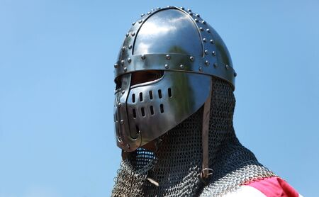 Image of a templar knight helmet against a blue sky.Natural lighting. Stock Photo - 9121431