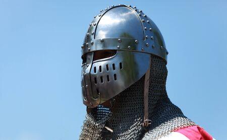 freemason: Image of a templar knight helmet against a blue sky.Natural lighting.