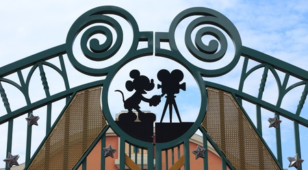 Paris,France,July 10th 2010:Detail of the entrance gate in Walt Disney Studios in Paris.Walt Disney Studios Park is the second theme park opened at Disneyland Paris from March 2002.