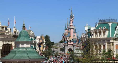 Paris,France,July 11th 2010: Image of few roofs and Princesss Castle in Disneyland Paris.