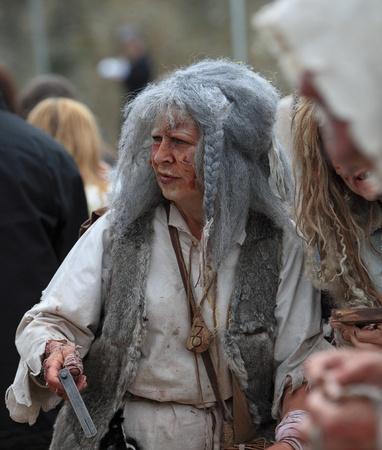 lepra: Leprous woman during Week-end de Lascension-Grand Fête médiévale in Nogent de Rotrou, France, 15-16.05.2010.