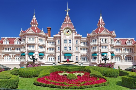 famous places: Paris,France,July 11th, 2010:Image of the entrance in Disneyland Park from Paris. Editorial