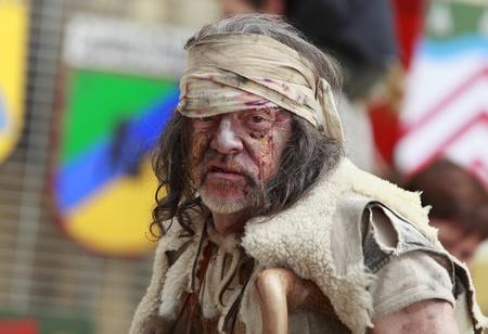 Nogent de Rotrou, France,May 15th, 2010Portrait of a leprous man during Week-end de Lascension-Grand Fete medievale