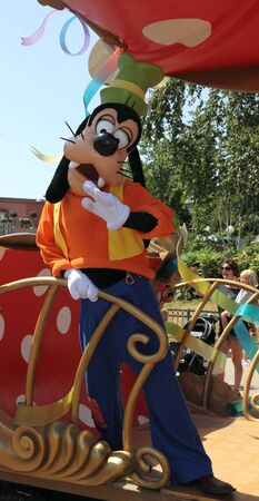 disneyland: Paris,France,July 11th 2010: Goofy in All Stars Express at Disneyland, Paris.