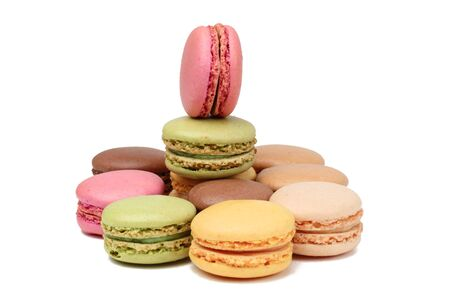 Traditional French sweets,macarons,isolated against a white background.