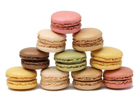 macarons: Traditional French sweets,macarons,isolated against a white background.