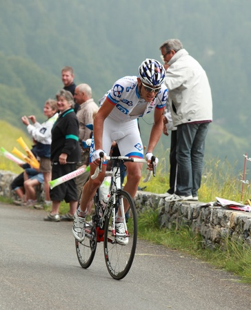 des: Col dAbisque,France,July 15th 2011: Image of the cyclist Roy Jeremy (Fran�aise des Jeux team),climbing the last kilometer of the category H mountain pass Abisque, during the 13th stage of Le Tour de France 2011. In the end of this stage Roy was the bes