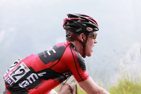 B�ost,France,July 15th 2011:Close-up image of the cyclist Bookwalter Brent (BMC Racing Team) climbing the category H mountain pass Abisque,from Pyrenees mountains in the 13th stage of the 2011 edition of