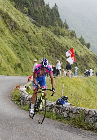 kilometer: Beost,France,July 15th 2011:Image of the cyclist Alessandro Petacchi (Lampre-ISD team),climbing the last kilometer of the category H mountain pass Abisque, during the 13th stage of