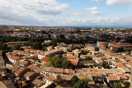 fortify: Aerial view of the base city of Carcassonne in Aude department of France, seen form the walled city.