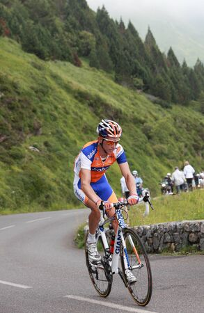 Beost,France,July 15th 2011: Image of the cyclist Mollema Bauke (Rabobank team),climbing the last kilometers of the category H mountain pass Abisque, during the 13th stage of Le Tour de France 2011.