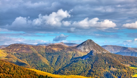 massif: Beautiful image of the Central Massif,located in the south-central France.Here is the the largest concentration of extinct volcanoes in the world with approximately 450 volcanoes. Stock Photo