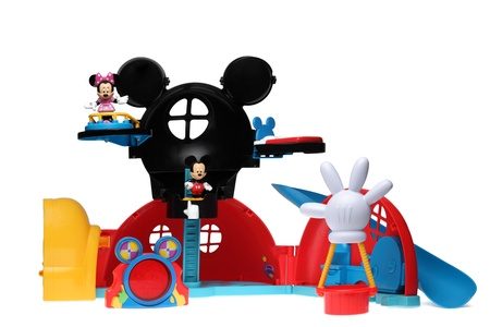 minnie mouse: Chartres,France - October 6th, 2011: Mickey and Minnie Mouse in their Clubhouse with the hot air balloon and Museketool (mistery tool).These are important items in the successful childrens television series Mickey Mouse Clubhouse.