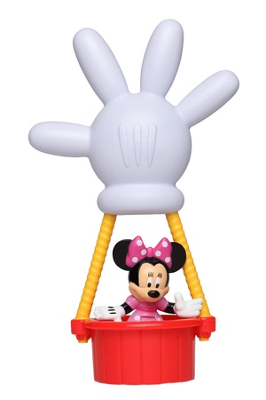 Chartres,France-September 18th, 2011: Minnie Mouse in the hot air balloon with the shape of his hand isolated against a white background. This balloon is an important item in the successful childrens television series Mickey Mouse Clubhouse.
