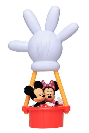 Chartres,France-October 6th, 2011: Minnie & Mickey Mouse in their hot air balloon with the shape of Mickeys hand against a white background. This balloon is an important item in the successful childrens television series Mickey Mouse Clubhouse.