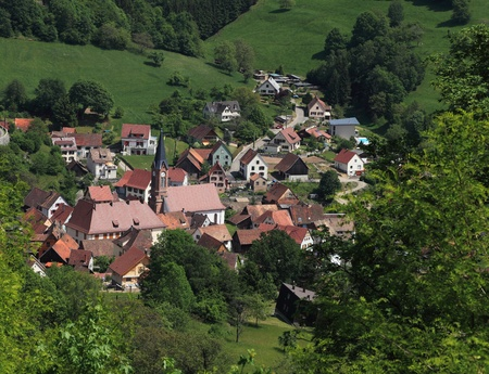 colmar: Image of a typical Alsatian village located in a valley near Colmar in Vosges Mountains in north-eastern France.