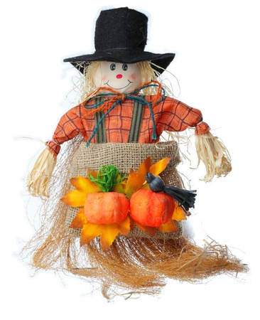 coutryside: Image of a scarecrow made by straws and clothes photographed in a studio against a white background. Stock Photo