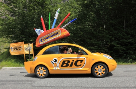 Beost,France,July 15th 2011: BIC car during the passing of the advertising caravan on the category H climbing route to mountain pass Abisque in the 13th stage of the 2011 edition of Le Tour de France, the biggest cycling race in the world. Before the appe