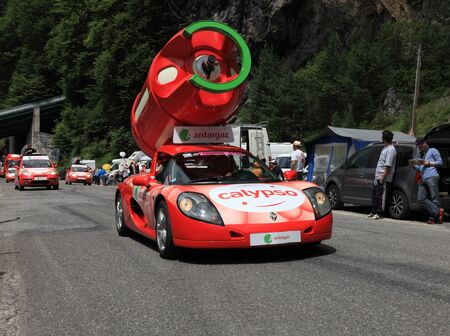 Beost,France,July 15th 2011: Antargaz cars during the passing of the advertising caravan on the category H climbing route to mountain pass Abisque in the 13th stage of the 2011 edition of Le Tour de France, the biggest cycling race in the world. Before th