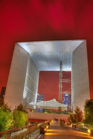 la defense: Pris,France- October 8th, 2011:Night image of The Grand Arche from the modern business district, La Defense, located in the western part of Paris. Editorial