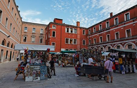 Venice, Italy- July 28th, 2011: A small market with souvenirs in a specific square in Venice.