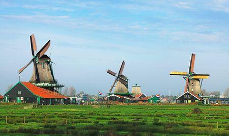 Dutch landscape with traditional windmills in Zaanse Schans. Stock Photo - 12163924