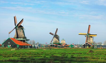 Dutch landscape with traditional windmills in Zaanse Schans. Stock Photo - 12163924