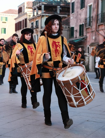 Venice,Italy,February 26th 2011: Image of a medieval drummers band during a parade in Venice during the Carnival days.The Carnival of Venice (Carnevale di Venezia) is an annual festival, held in Venice, Italy and is now established as one of the world's m