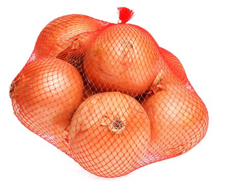 Onions in net against a white background. Stock Photo - 12163933