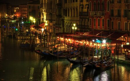 vicinity: Night image in Venice on the Grand Canal in the vicinity of the Rialto Bridge. Stock Photo