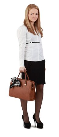 Young woman with handbag against a white background. Stock Photo - 12917752