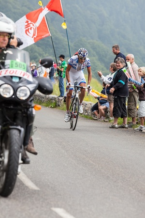 Beost,France,July 15th 2011: Image of the cyclist Roy Jeremy (Française des Jeux team),climbing the last kilometer of the category H mountain pass Aubisque, during the 13th stage of